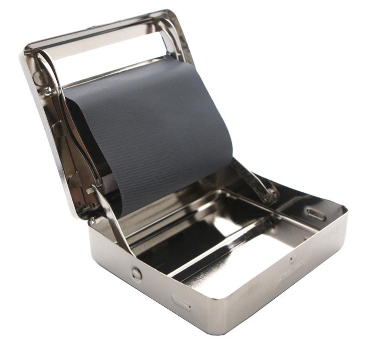 Cigarette Tobacco Roller Rolling Machine Box Case-Silver